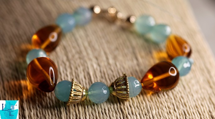 Burnt Orange and Turquoise - Green Necklace, Bracelet and Earring Set