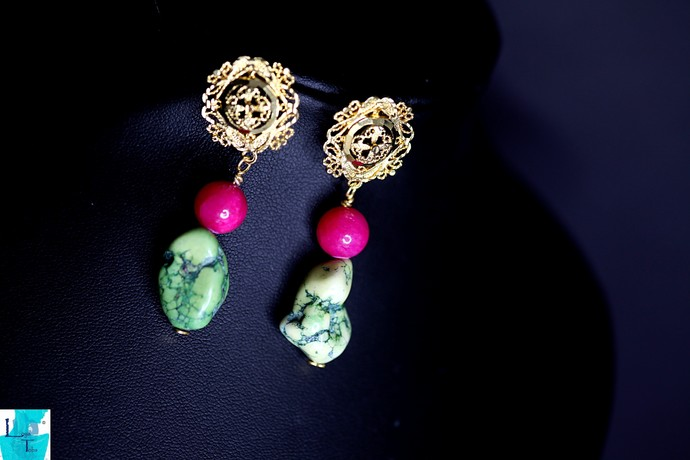 Pink and Green Necklace, Bracelet and Earring Set