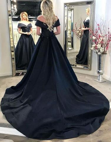 Black v neck long prom dress, black evening dresses Vintage Prom dresses,Elegant