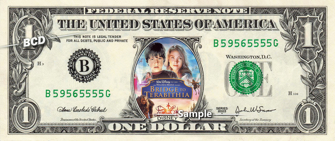 Bridge to Terabithia on a REAL Dollar Bill Disney Movie Cash Money Collectible