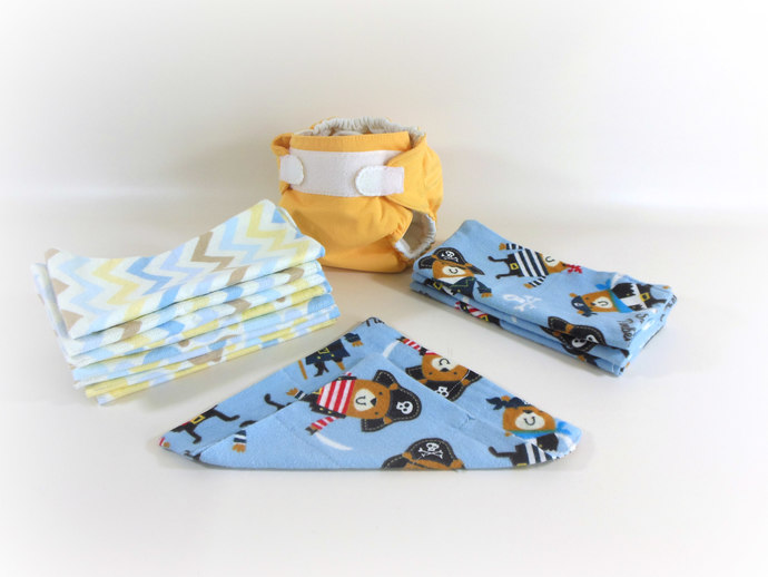 Cloth Wipes, Washcloths, Burp Cloths, Handkerchiefs Set of 12 in Pirates &