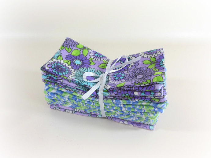 Cloth Wipes, Washcloths, Burp Cloths, Handkerchiefs Set of 12 in Purple Flowers