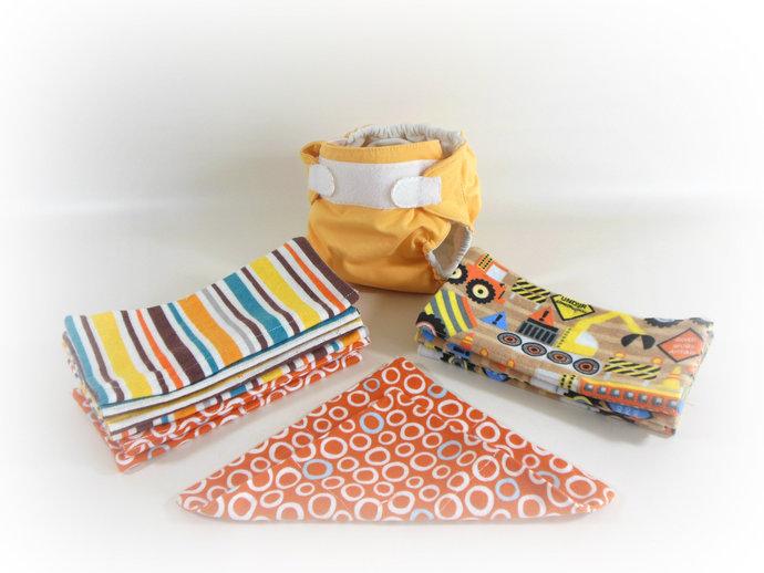 Cloth Wipes, Washcloths, Burp Cloths, Handkerchiefs Set of 12 in Construction