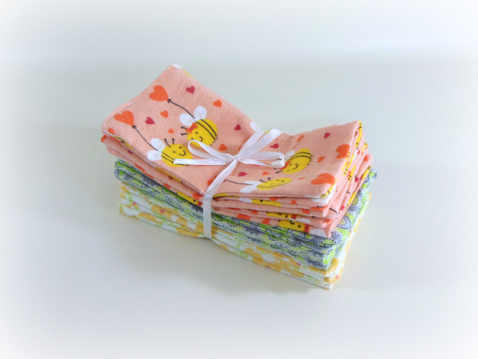 Cloth Wipes, Washcloths, Burp Cloths, Handkerchiefs Set of 12 in Bees & Flowers
