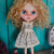 Blythe doll OOAK dress- *Rain of hearts* pure linen outfit
