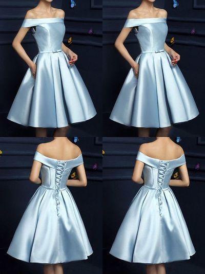 Light Blue Short Bridesmaid Dress, Satin Knee Length Formal Dress