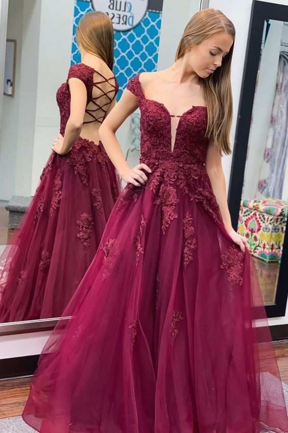 Elegant O-Neck Appliques  Prom Dresses,Long Prom Dresses,Cheap Prom Dresses,