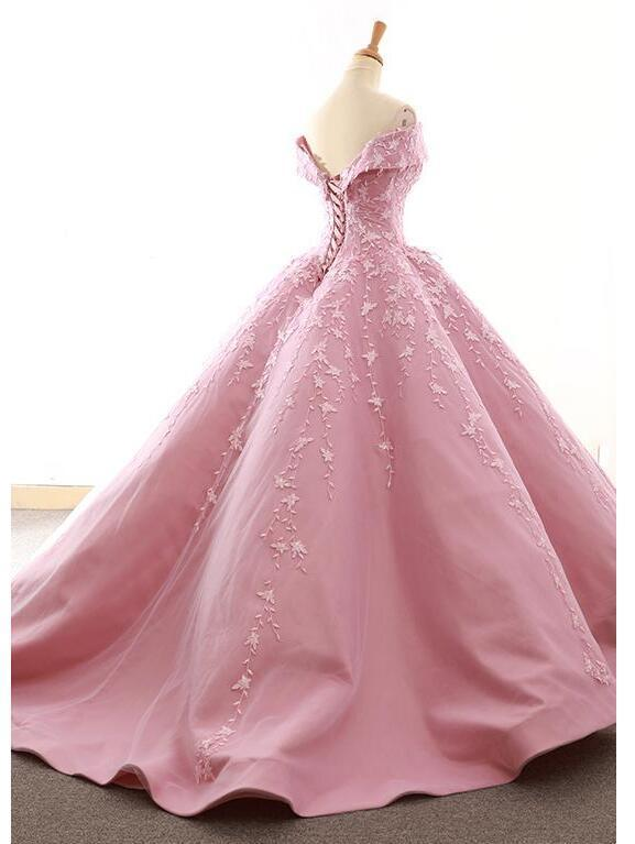 Gorgeous Tulle & Satin Off the Shoulder Ball Gown Wedding Dresses With Lace