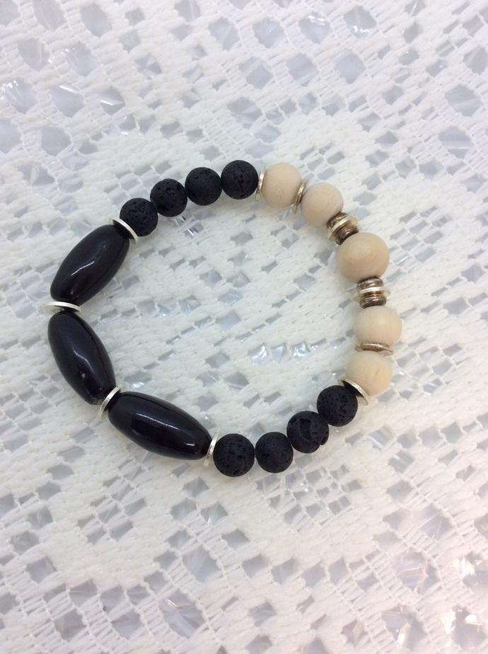 Black and Wood  Stretch Bracelet and Oil Diffuser with Lava beads and silver