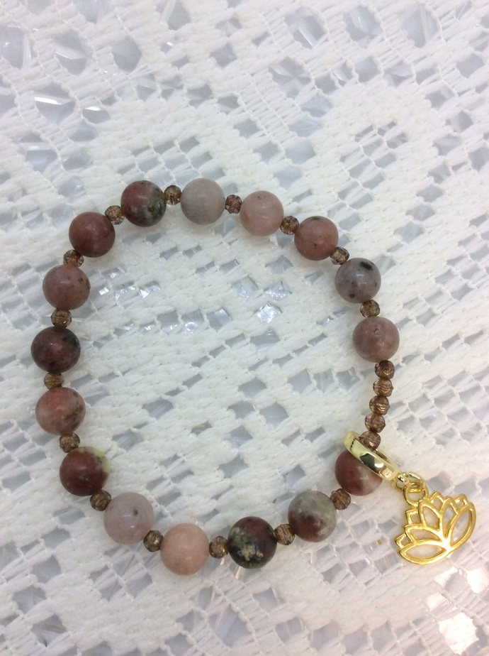 8mm  Pink Lepidolite Gemstone stretch bracelet with Gold tone Lotus flower charm