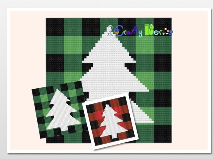 Buffalo Plaid Green Tree Silhouette Pillow Pattern Graph With Single Crochet