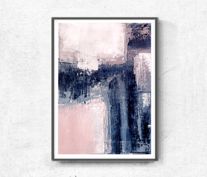 Printable Art, Art Poster, Digital Download, Wall Decor, navy blue and white,
