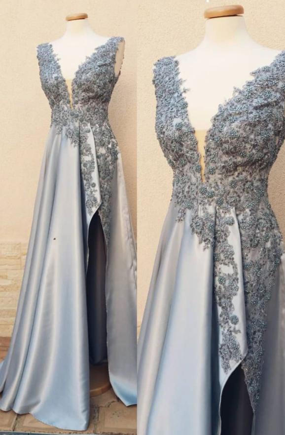 Satin Prom Dress,Long Evening Dress,Evening Dress,Sweet Dress,Blue Ball Gown