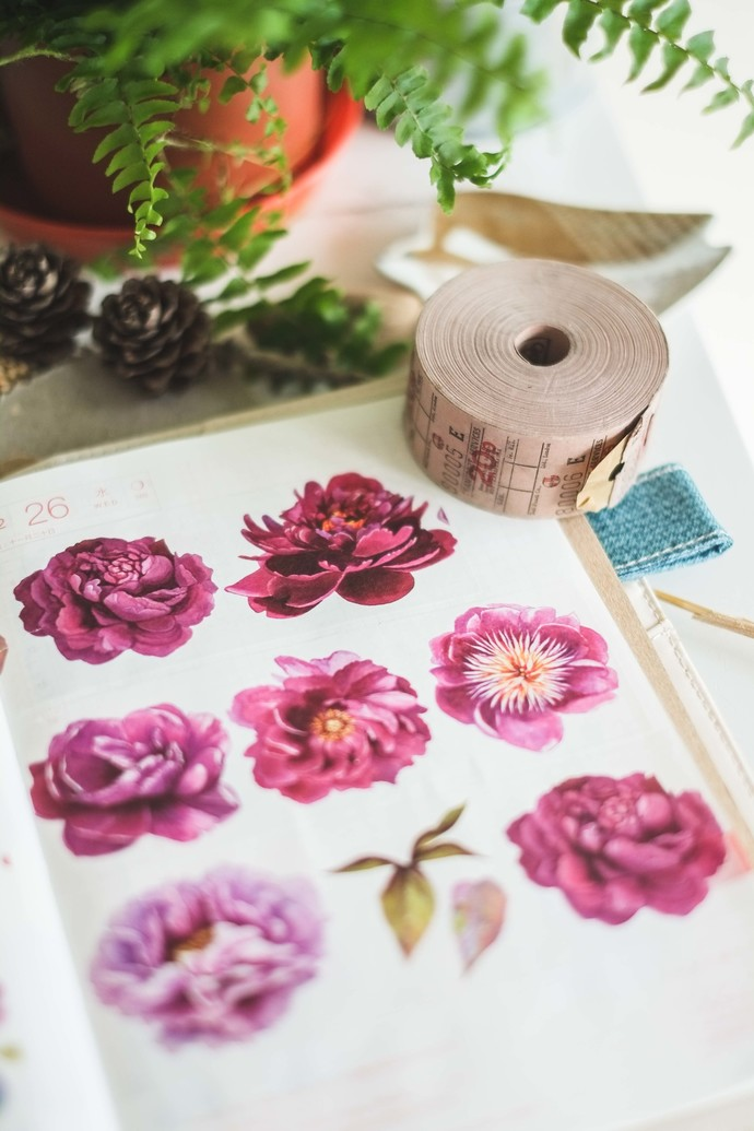 Peonies - 5 cm wide washi tape 10m - original design, perfect for journaling,