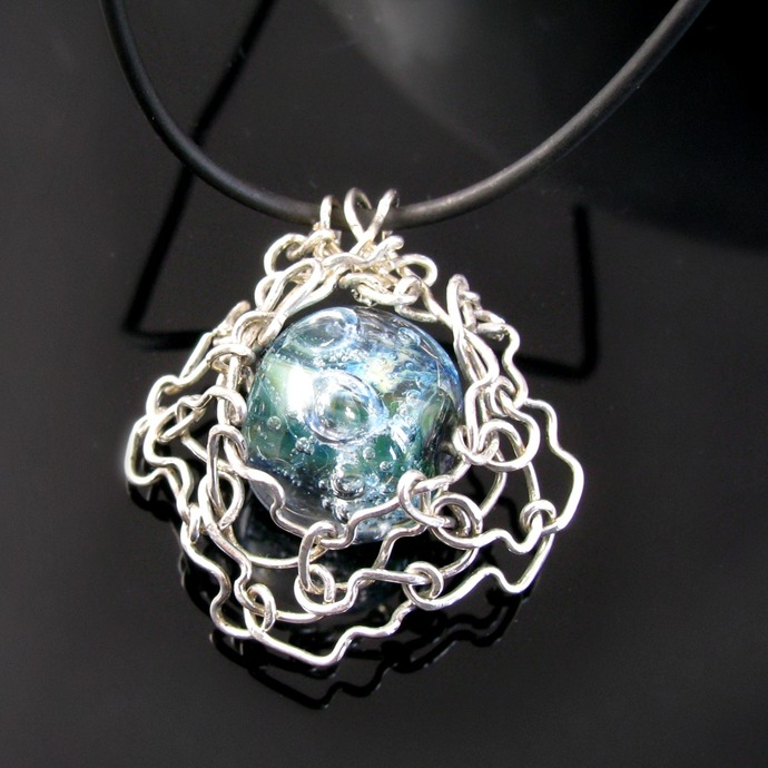 Organic form sterling silver pendant with teal lampwork bead - Universe