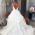 V-Back Ruffles White Bridal Dress with Court Train Wedding Dresses