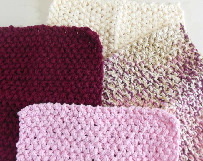 Double Knit Washcloths Set of 4 in Pink, Maroon, & Cream