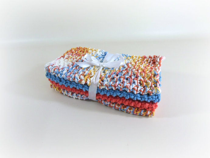 Double Knit Washcloths Set of 4 in Coral & Periwinkle