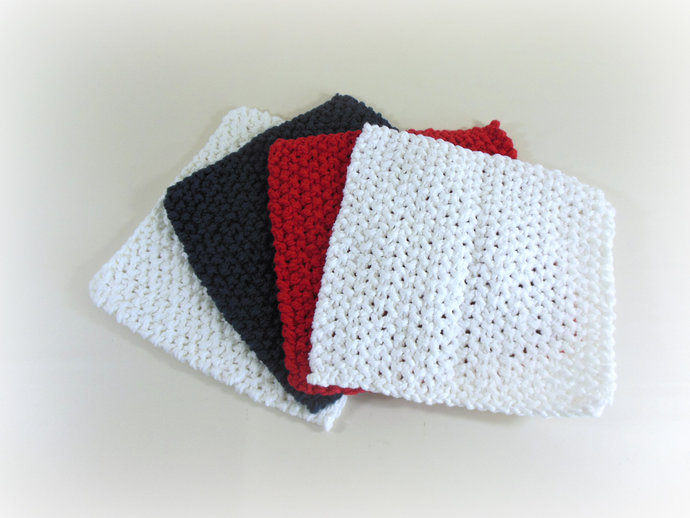 Double Knit Washcloths Set of 4 in Red, White, & Blue