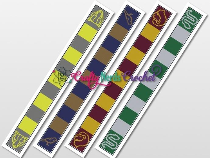 Hogwarts House Scarf Set Pattern Graphs With Single Crochet Written
