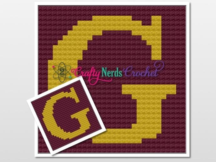 Gryffindor G Pillow Pattern Graph With Mini C2C Written