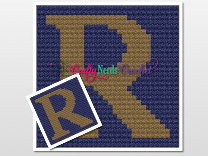 Ravenclaw R Pillow Pattern Graph With Mini C2C Written