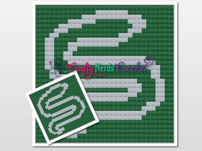 Slytherin Pillow Pattern Graph With Mini C2C Written