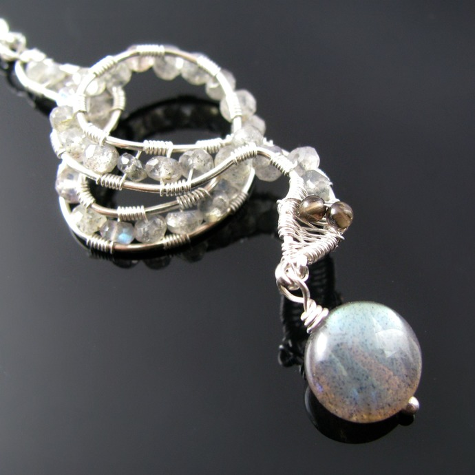 Wire wrapped silver snake pendant with labradorite