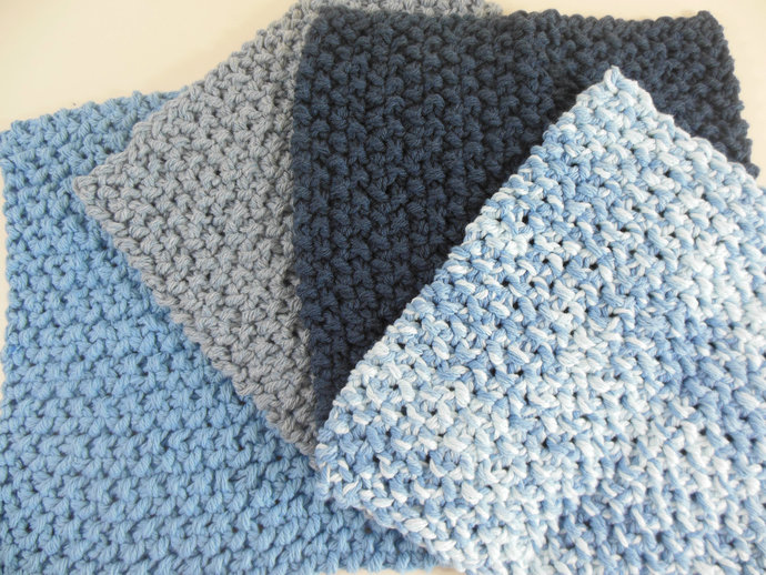 Double Knit Set of 4 Washcloths in Shades of Blue