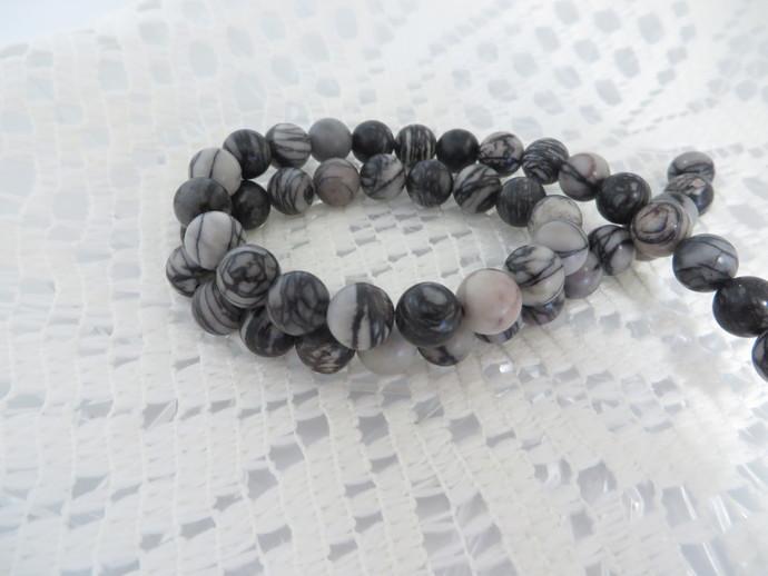 Full 16 inch strand of C grade Natural Black Silkstone 8mm round Gemstone beads