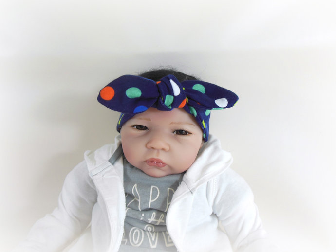 Infant Stretch Tie Knot Headband in Polka Dots