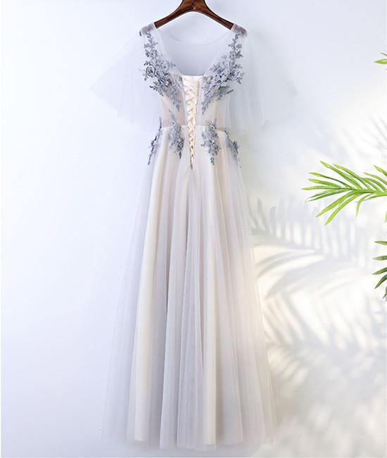 A Line Round Neck Short Sleeves Lace Prom Dresses With Appliques, Lace Formal