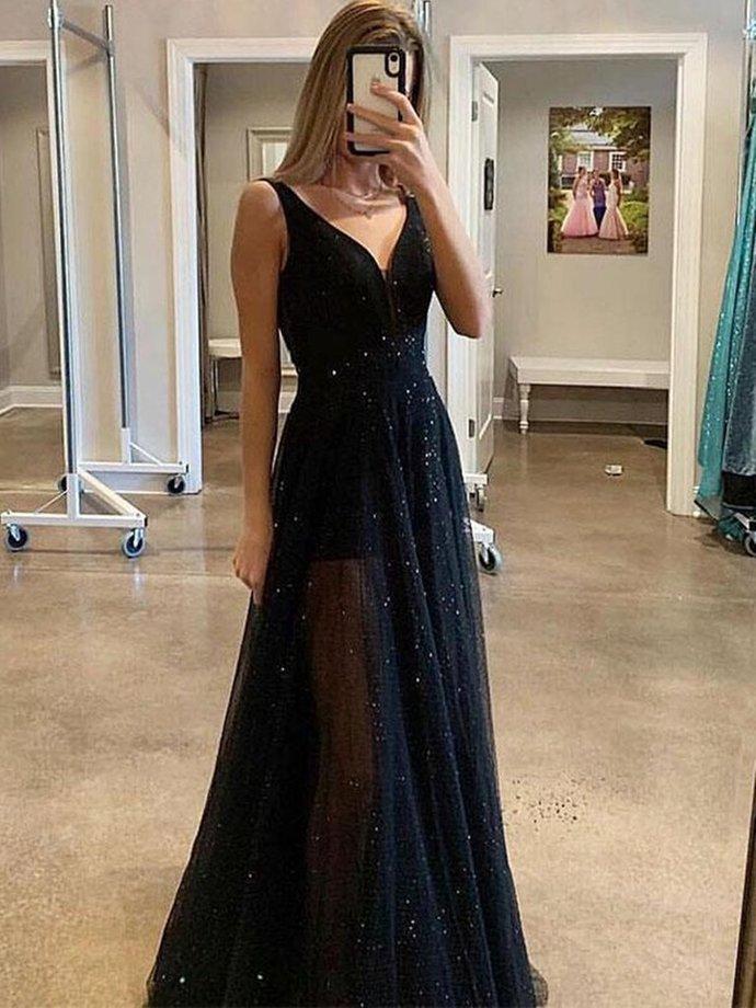 A Line V Neck Sparkly Sequins Black Long Prom Dresses, Black V Neck Sequins Long