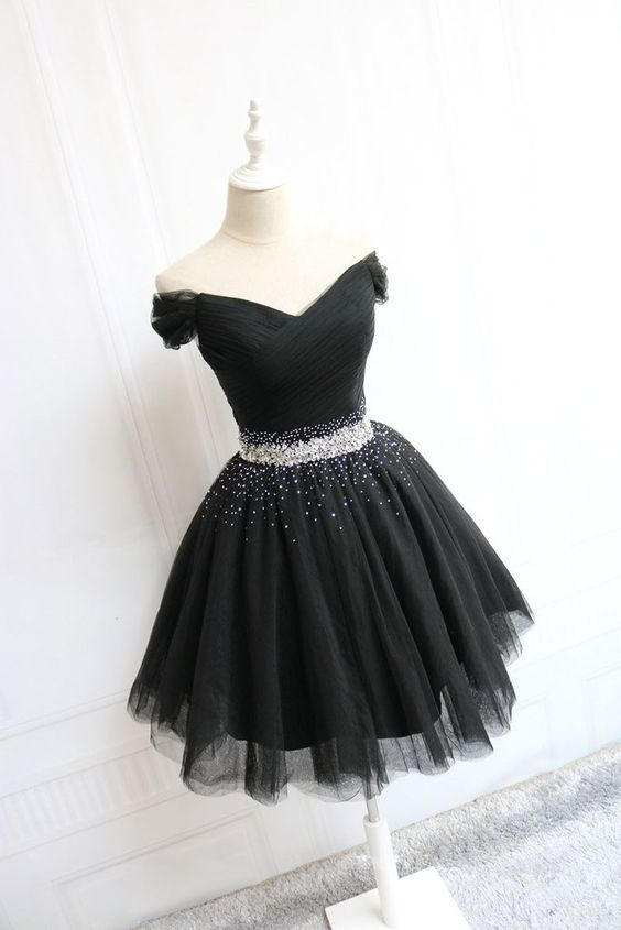 Fashion Off the Shoulder Tulle Beaded Black Homecoming Dress, Short Prom Dress