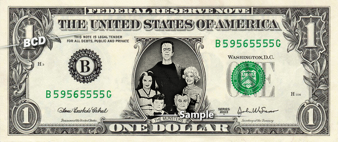 THE MUNSTER Family on a REAL Dollar Bill Cash Money Memorabilia Novelty