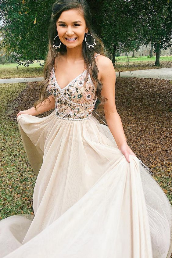 Pretty Customized Charming V neck Beaded A Line Long Prom Dress with Appliques