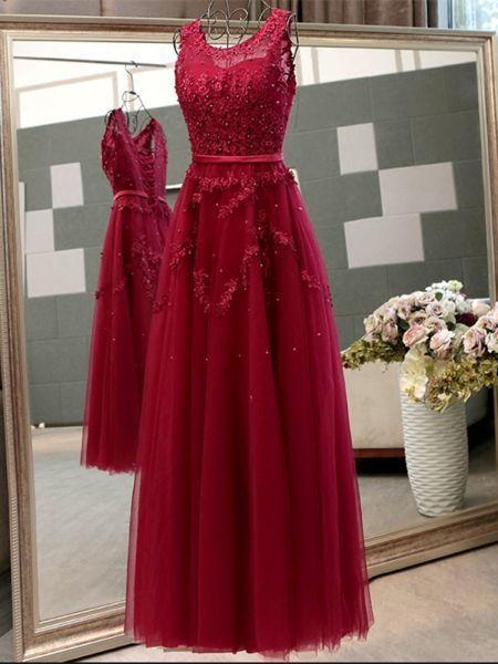 Gorgeous Custom Made A-line Princess Scoop Neck Sleeveless Floor Length Prom