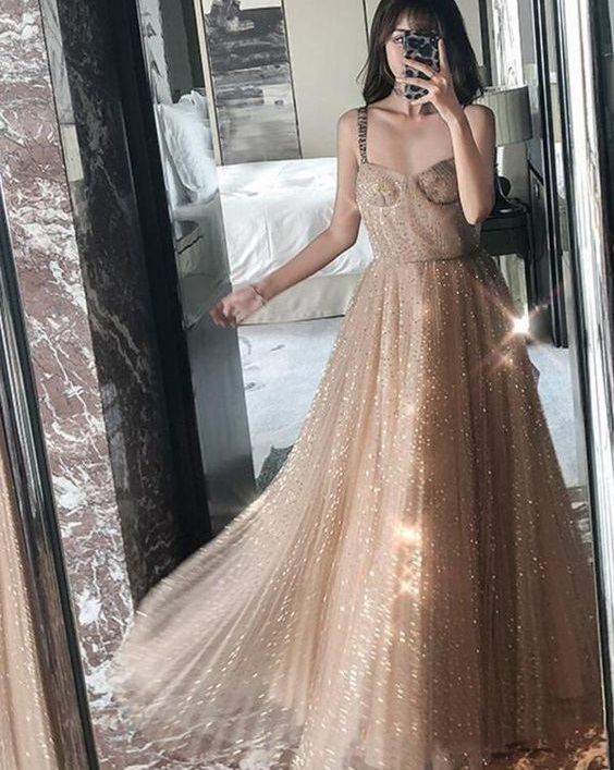 Straps Sparkly Gold A-line Long Evening Prom Dresses, Charming Customized Sweet