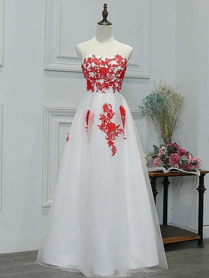 A Line Round Neck Red Lace Appliques White Prom Dresses, Lace White Formal
