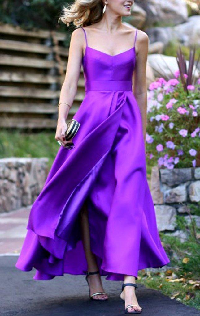 Spaghetti Straps Purple Satin Prom Dress Tea Length Wedding Party Formal Gown