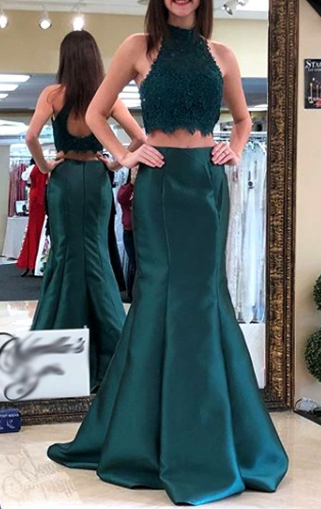 Mermaid High Neck Lace Satin Long Prom Dress Teal Formal Evening Gown