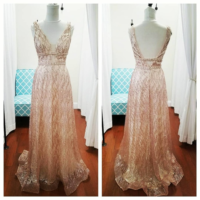 Sparkly Open Back Long Evening Prom Dresses