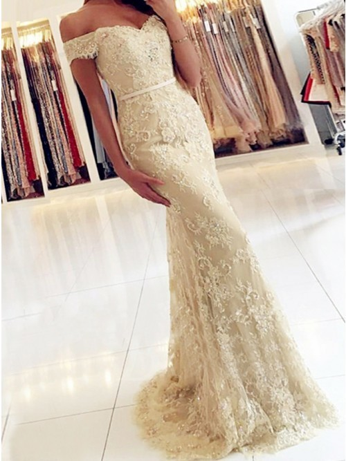 Mermaid Off the Shoulder Light Champagne Lace Prom Dress with