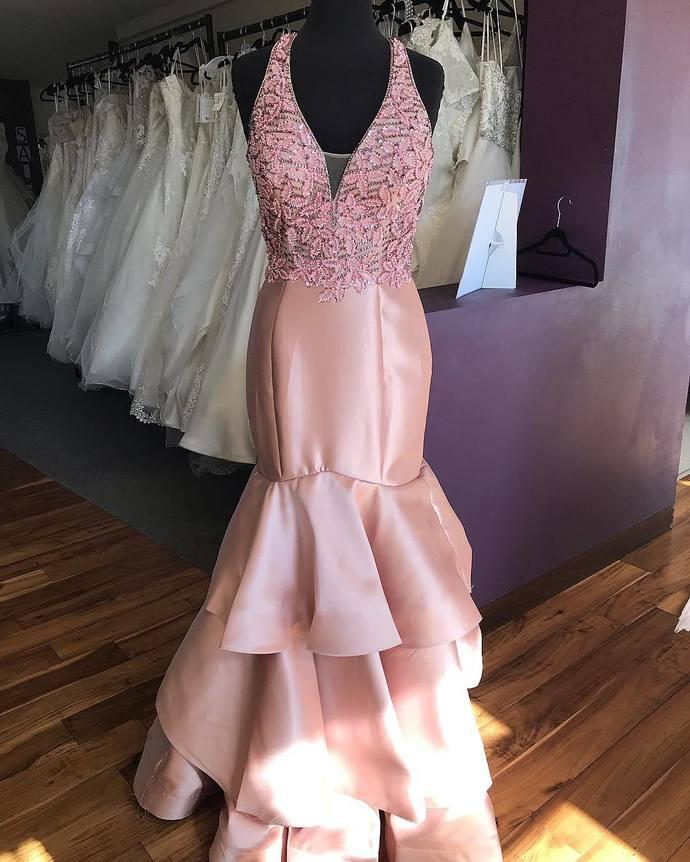 Simple Pink V-Neck Mermaid Formal Dress