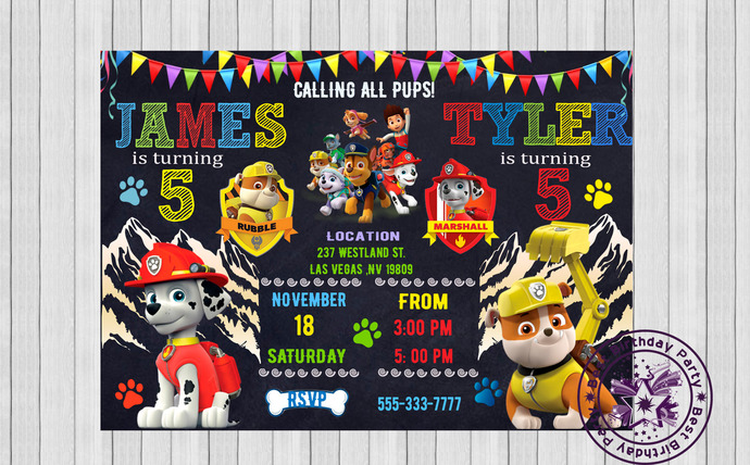 Paw Patrol Double Birthday Invitations, Paw Patrol Twin Birthday Invitation, Paw