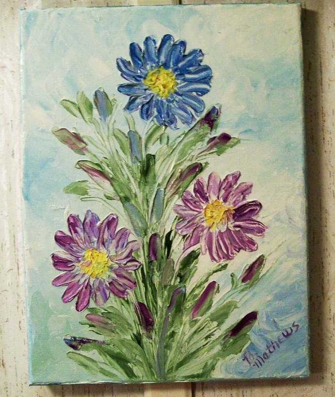 Knife Oil Painting, Original Painting,  11x14 Painting, Floral Knife Painting,