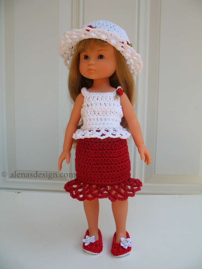 Crochet Patterns 13 inch Doll Clothes Corolle Les Cheries Paola Reina Doll 4 PC