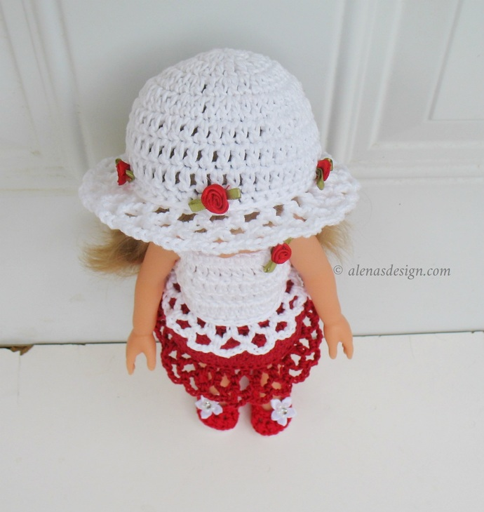 4 PC Dolls Outfit Lace Sun Hat Top Skirt Shoes Crochet Patterns 13 inch Doll