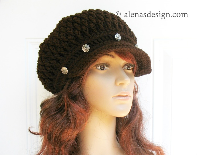 Crochet Newsboy Hat Merlot Slouchy Visor Hat Handmade Hat Grey Pink Black Beige