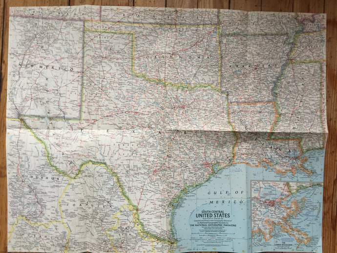 1961 Map of South Central United States National Geographic Map